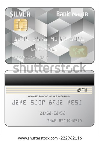 illustration of detailed credit card isolated on white background