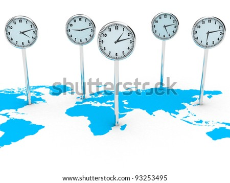 Illustration of different clocks on the world map - stock photo
