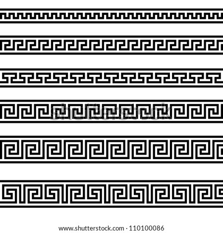 illustration of different greek ornament patterns - stock photo
