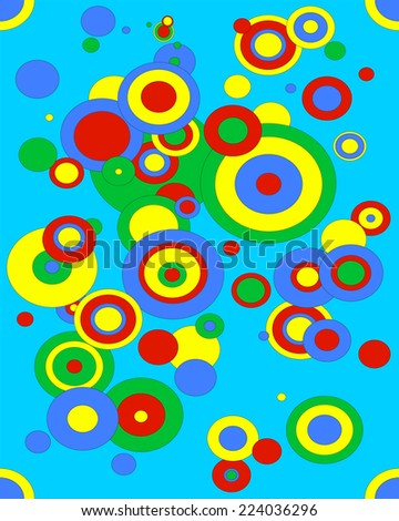 Illustration of different size circles in green, red, blue and yellow.