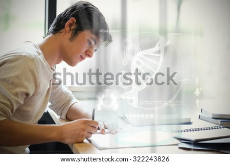 Illustration of DNA against serious male student writing - stock photo