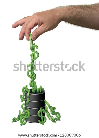 Illustration of dollar symbols (like monkeys) being pulled out of a barrel of oil. - stock photo
