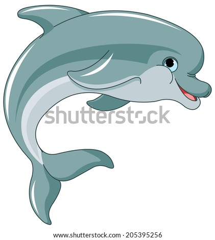 Illustration of dolphin leaping on white background - stock photo