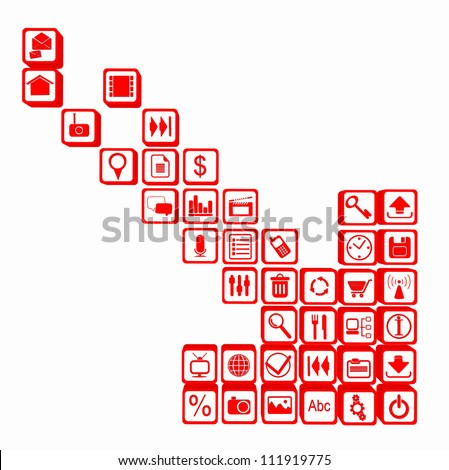 illustration of downloading applications. red arrow made up of the tablet and smart phone apps