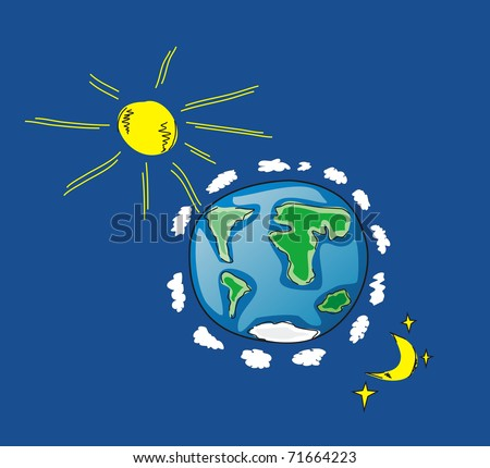Illustration of Earth, Sun, Moon - stock photo