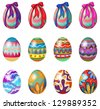 Illustration of easter eggs with designs and ribbons on a white background - stock photo