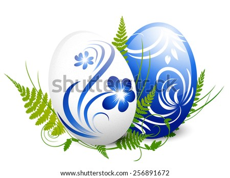 Illustration of Easter Gzhel Decorated Eggs With Green Fern Over White - stock photo