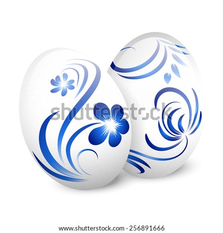 Illustration of Easter White Gzhel Decorated Eggs Over White - stock photo