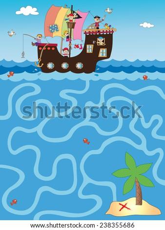 illustration of easy game for children: maze - stock photo