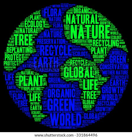 Illustration of ecology concept in modern word cloud - stock photo