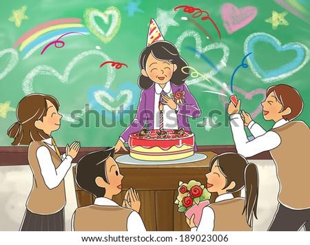 Illustration of education celebration - stock photo