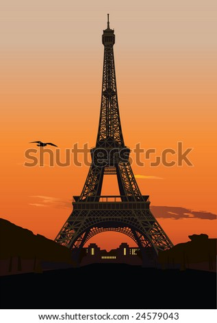Illustration of Eiffel tower at sunset. Paris, France - stock photo