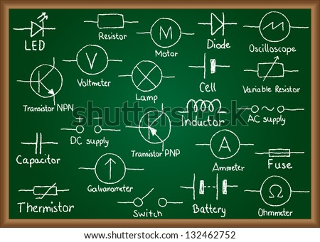 Illustration of electrical circuit symbols drawn on chalkboard - stock photo