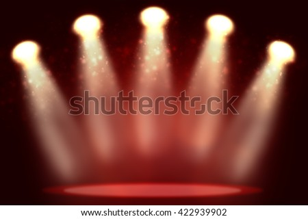 Illustration of empty red room with highlight. Empty place in center - stock photo