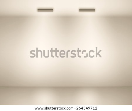 Illustration of Empty space (empty wall in a room) with lights - stock photo