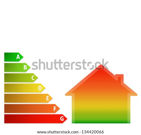 illustration of energy performance scale with a gradient house - stock photo
