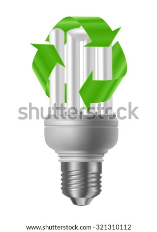 Illustration of energy saving light bulb with green recycle sign isolated - stock photo
