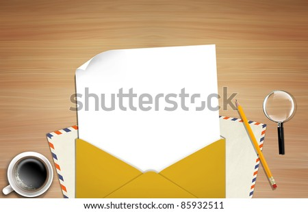 Illustration of envelope and paper on table