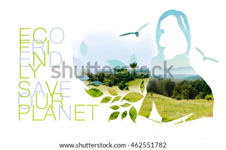 Illustration of environmentally friendly planet. Silhouette of Young Woman, who fells nature like herself, isolated on white background.Think Green. Eco Concept.