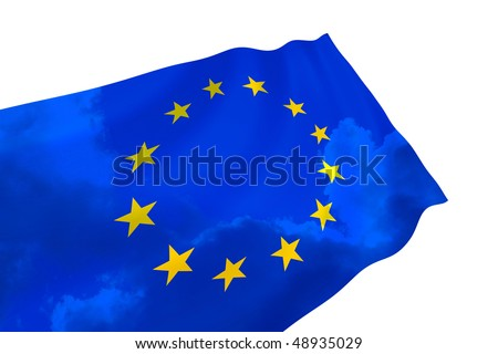 Illustration of European Union flag with sky, waving in the wind
