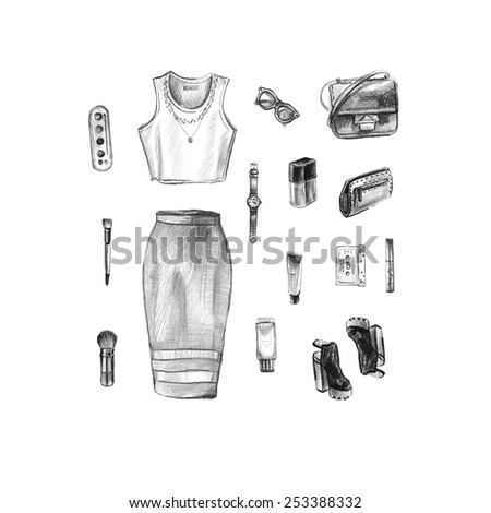 illustration of every day carry and outfit accessories, things, tools, essentials, equipment, objects, items. Icons collection .  Clothes. Hand drawn fashion illustration. woman accessories - stock photo