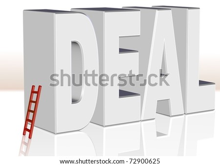Illustration of expression Big deal. Word DEAL in white 3D letters with red ladders leaning on letter D giving illusion how much word deal is big / Big deal / - stock photo