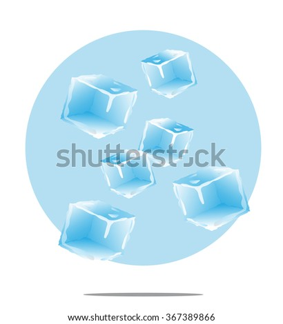 Illustration of falling ice cubes with light blue background - stock photo