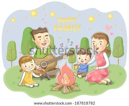 Illustration Of Family Singing Around Campfire