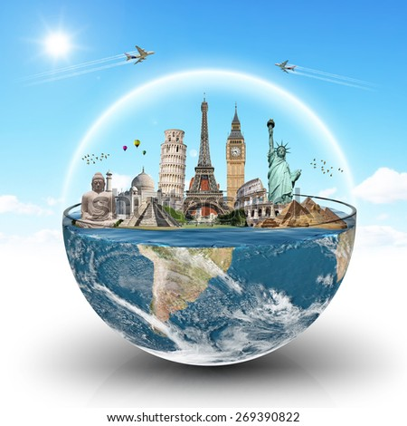 illustration of famous monuments of the world in a glass of water 'Elements of this image furnished by NASA' - stock photo