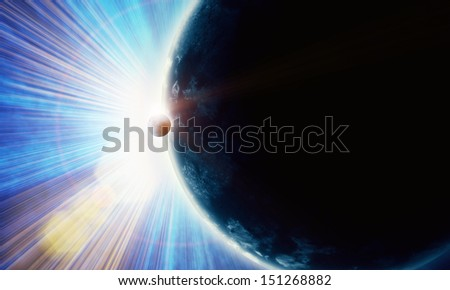 illustration of fantastic space with clouds - stock photo
