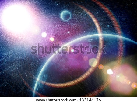illustration of fantastic space with clouds. Elements of this image furnished by NASA - stock photo