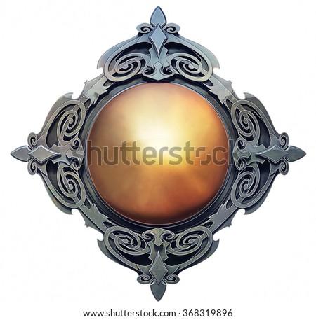 Illustration of fantasy emblem with golden center - stock photo