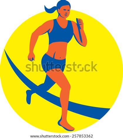Illustration of female marathon triathlete runner running set inside circle on isolated background done in retro style. - stock photo
