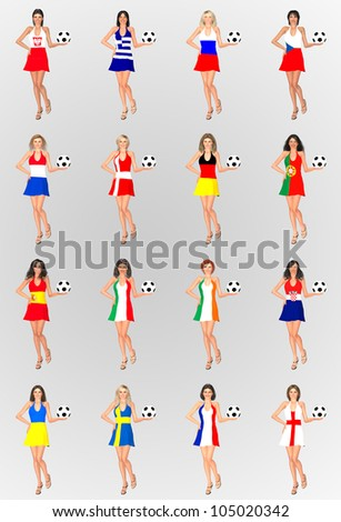 Illustration of female models wearing a dress with the flag of each of the participant countries in the European Football Championship 2012 white holding a ball - stock photo