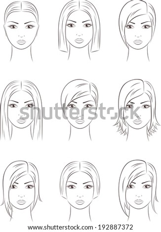 Illustration of female silhouettes. Different hairstyles. Raster version - stock photo