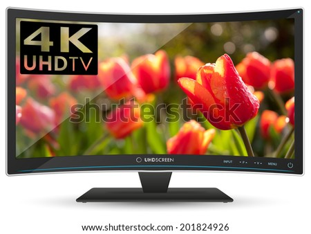 Illustration of Fictitious Modern Curved 4K UHD Ultra High Definition TV on White Background
