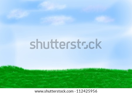 Illustration of field on a background of the blue sky - stock photo