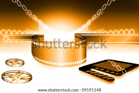 Illustration of Film with clap board