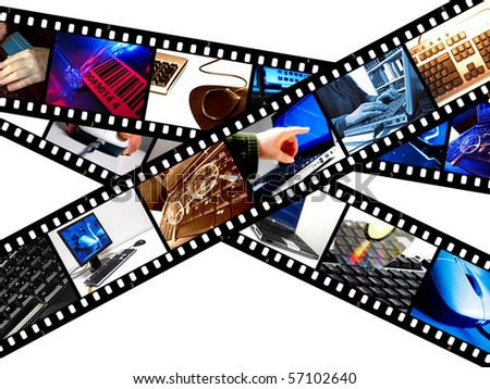 Illustration of filmstrips with computer-related images - stock photo