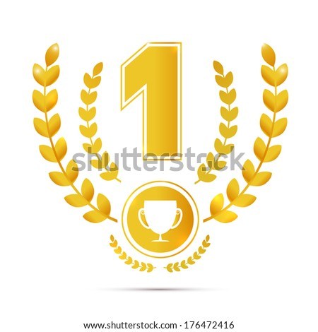 Illustration of First Place, Gold Medal Symbol Isolated on White Background