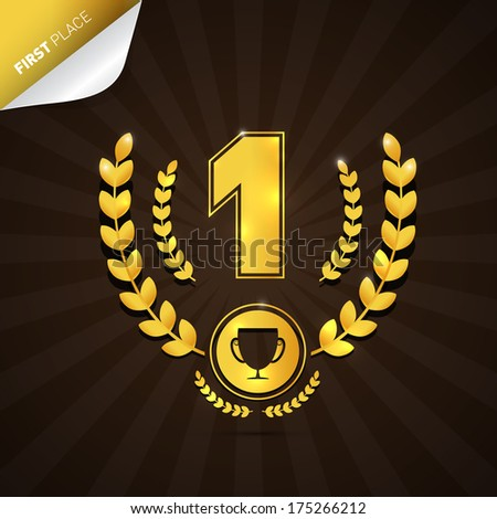 Illustration of First Place, Gold Medal Theme on Dark Background - Also Available in Vector Version  - stock photo