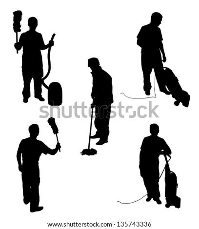 Illustration of five silhouette people cleaning - stock photo