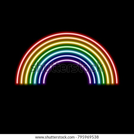 Illustration of fluorescent rainbow icon on a black background great for cards wall art