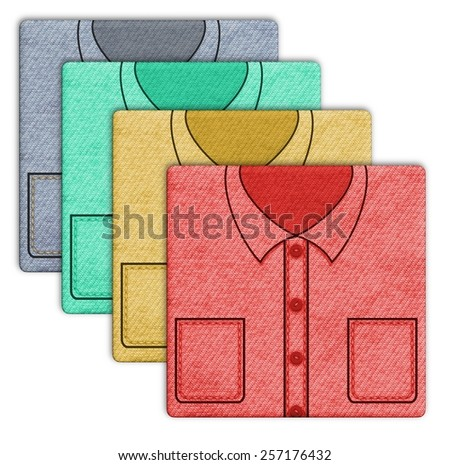 Illustration of four shirts in different colors - stock photo