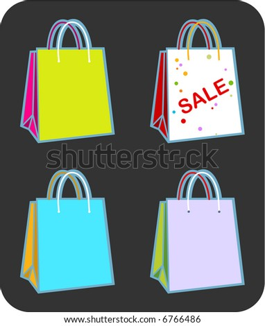 illustration of Four shopping bags with copy space