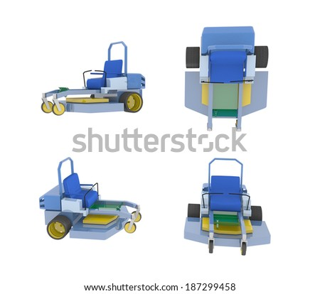 Illustration four views generic ztr zero stock illustration illustration of four views of a generic ztr or zero turn mower on a white background publicscrutiny Image collections