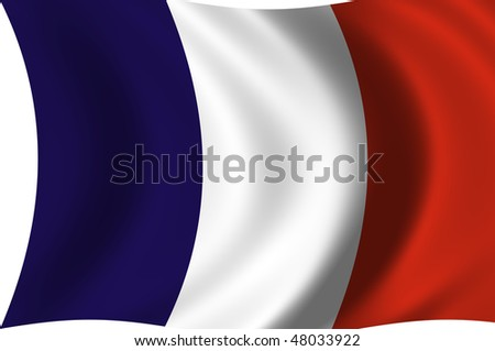 Illustration of France flag waving in the wind