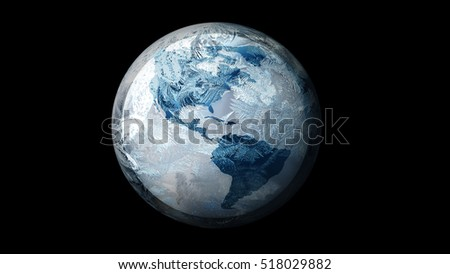 Illustration of Frozen Earth in space. on a black background