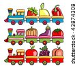 illustration of funny cartoon train, moving  the fruits and vegetables - stock photo