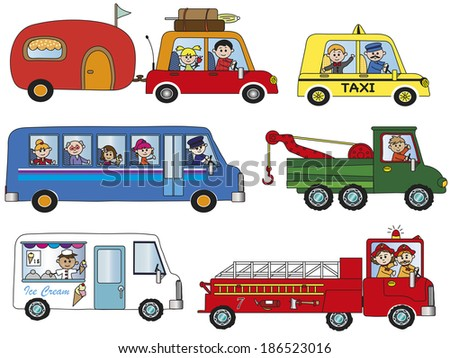 illustration of funny cartoon transportation